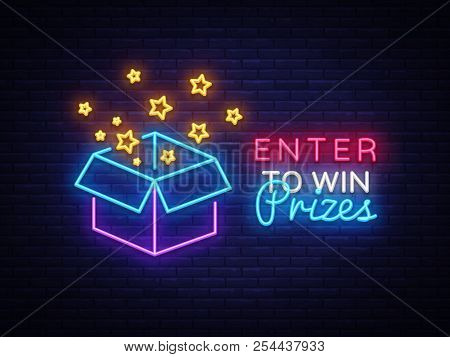 Enter To Win Prizes Neon Sign Vector. Gift Neon Sign, Win Super Prize Design Template, Modern Trend