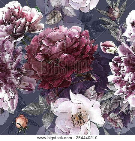 art vintage pencil floral colorful seamless pattern with white roses and purple peonies on background. Double Exposure and Bokeh effect