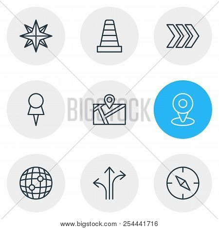 Vector illustration of 9 direction icons line style. Editable set of direction, pushpin, orientation and other icon elements. poster