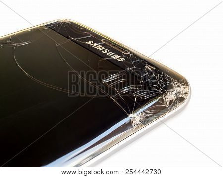 Chiangrai, Thailand: September 09, 2017 - Close-up Image Of Cracked Screen Samsung S7 Edge Smartphon