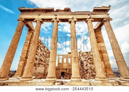 Erechtheion Temple On Acropolis, Athens, Greece. It Is One Of Main Landmarks Of Athens. Classic Anci