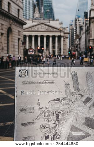 London, Uk - July 24, 2018: Close Up Of A Metal Map Of Bank Junction On Jubilee Walkway, Bank Of Eng