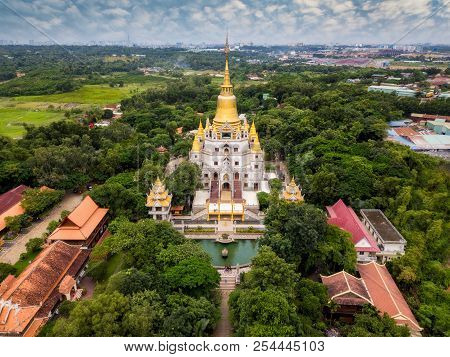 Aerial View Of Buu Long Pagoda In Ho Chi Minh City. A Beautiful Buddhist Temple Hidden Away In Ho Ch