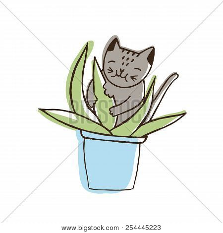 Adorable nasty cat eating houseplants. Naughty kitten gnawing plant growing in pot. Problematic behavior of disobedient domestic animal or pet. Colored hand drawn vector illustration in doodle style. poster