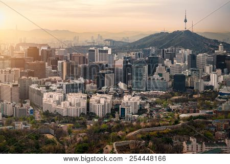 Sunrise Scene Of Seoul Downtown City Skyline, Aerial View Of N Seoul Tower At Namsan Park In Twiligh