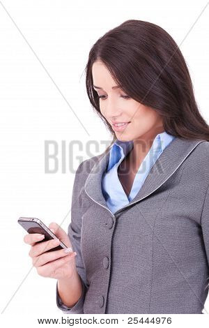 Business Woman Texting From Her Cellphone