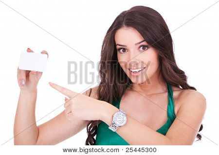 Woman Pointing At Blank Card