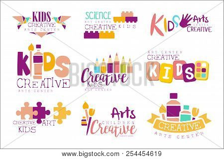 Kids Creative And Science Class Template Promotional Logo Set With Symbols Of Art Creativity, Painti