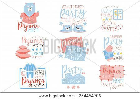 Pink And Blue Girly Pajama Party Invitation Templates Set Inviting Kids For The Slumber Pyjama Overn