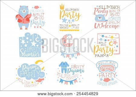 Blue And Pink Girly Pajama Party Invitation Templates Set Inviting Kids For The Slumber Pyjama Overn