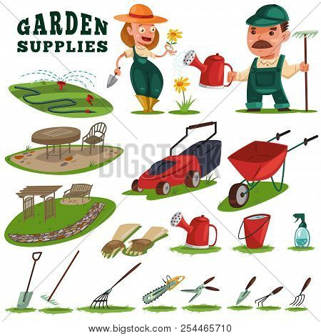 Gardeners Man And Woman, Gardening Supplies And Tools. Teak Furniture, Benches, Trellis, Work Leathe