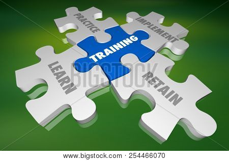 Training Learn Practice Implement Retain Puzzle 3d Illustration poster