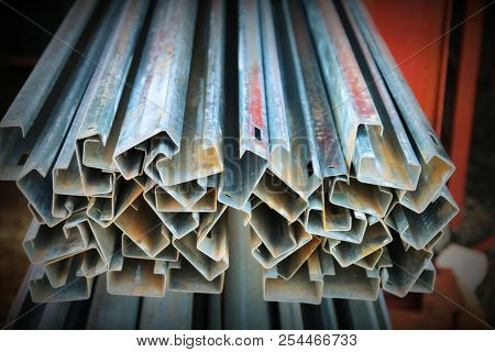 Unused Galvanized Rectangular Steel Tubes poster