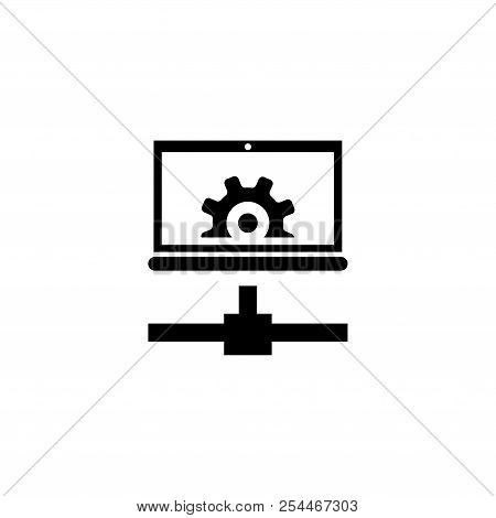 Remote Configuration, Settings Laptop. Flat Vector Icon illustration. Simple black symbol on white background. Remote Configuration, Settings Laptop sign design template for web and mobile UI element poster