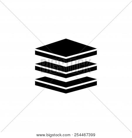 Layers, Strata. Flat Vector Icon Illustration. Simple Black Symbol On White Background. Layers, Stra