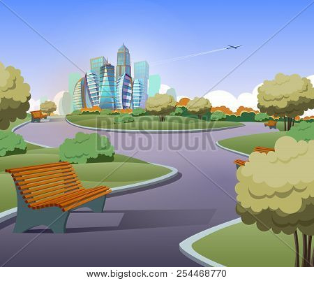 Vector Illustration Of Green Parkland With Trees, Bushes In Cartoon Style. Lawn With Benches And Mod