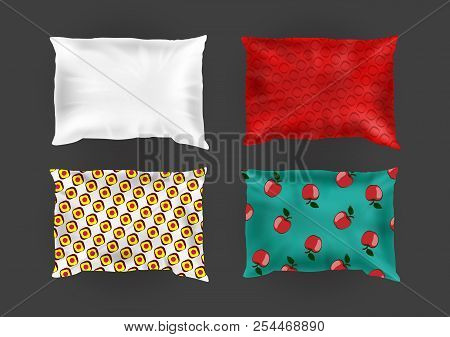 Vector 3d Realistic Comfortable Square Pillows In Bright Pillowcases, Different Patterns On Silk, Co