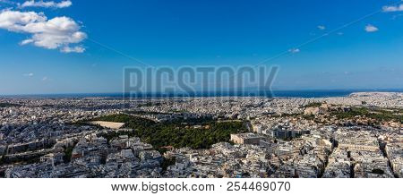 Athens, Greece. Panathinaiko stadium and Athens Acropolis and city aerial view