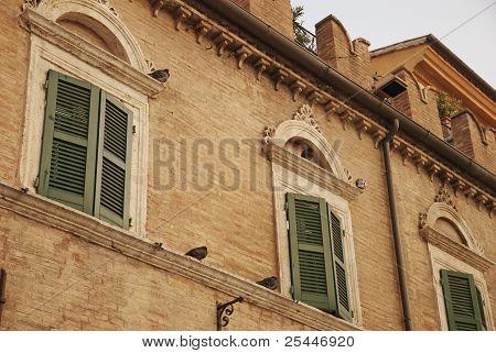 window over th people's square in Ascoli Piceno, Italy
