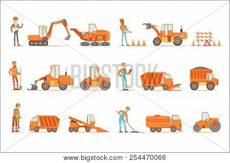 Smiling Road Construction And Repair Workers In Uniform And Heavy Trucks At Construction Site Set Of