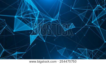 Abstract Digital Background. Plexus Effect. Network Connection Structure. Science Background. 3d Ren