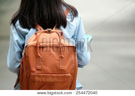 Back Of Student Girl Holding Books And Carry School Bag While Walking In School Campus Background, E