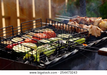 Grilled Vegetables With Pork Meat On Skewers