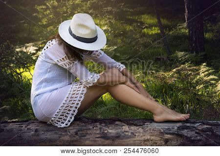 Beautiful Girl Relaxes In Nature. Young Beautiful Girl Sitting In Nature On The Tree Trunk. Beautifu