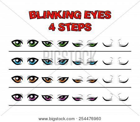 Blinking Eyes Steps Vector Preset For Character Animation Design Isolated On White