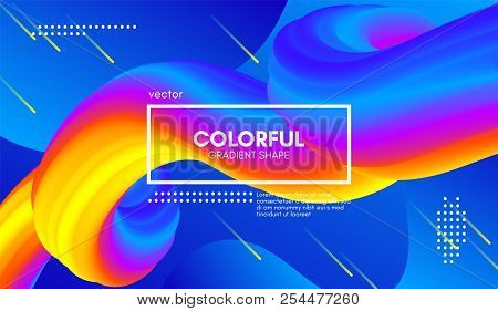 Abstract Wave 3d Background With Colorful Liquid. Vector Illustration. Trendy 3d Fluid Design For Bu