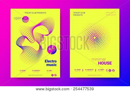 Music Abstract Colorful Poster. Bright Sound Flyer With Distortion Of Circles. Trendy Abstract Cover