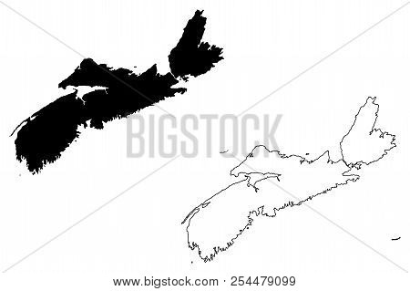 Nova Scotia (provinces And Territories Of Canada) Map Vector Illustration, Scribble Sketch Nova Scot