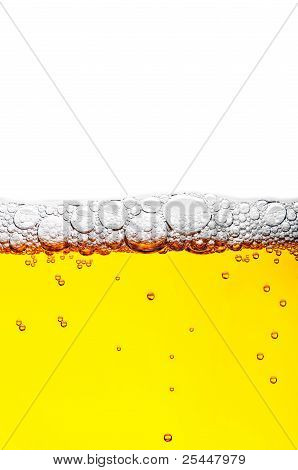 Close Up Shot Of Yellow Beer With Foam And Bubbles