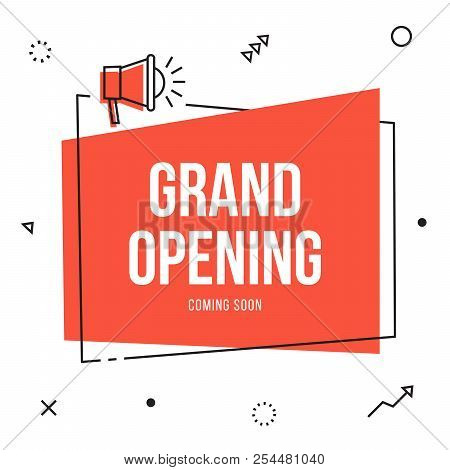 Grand Opening Banner Flyer Template With Megaphone; Event, Store, Sale Vector Thin Line Style Announ