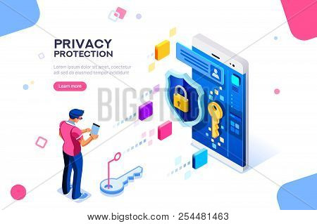 Infographic, Banner With Hero Protect Data And Confidentiality. Safety And Confidential Data Protect