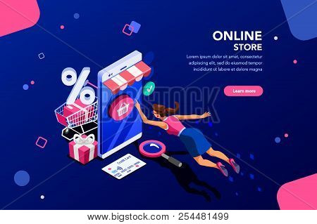 Concept Of Young Buyer Online Using Smartphone Items. Consumer And Fashion E-commerce, Consumerism O