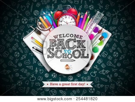 Back To School Design With Colorful Pencil, Typography Lettering And Other School Items On Dark Chal
