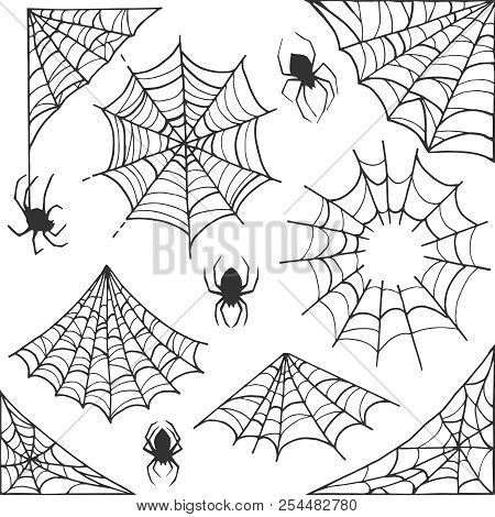 Spider Web Halloween Symbol. Cobweb Decoration Elements Collection. Halloween Cobweb Vector Frame An