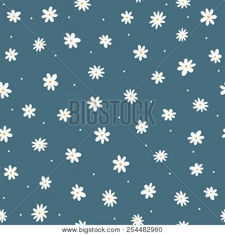 Scattered Small Daisies And Round Dots. Cute Floral Seamless Pattern. Repeated Feminine Print. Vecto
