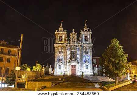 Night View Of Facade Of Church Of Saint Ildefonso (igreja Paroquial De Santo Ildefonso) In Old Cente