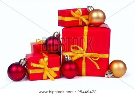 Stack Of Red Gift Boxes And Christmas Balls
