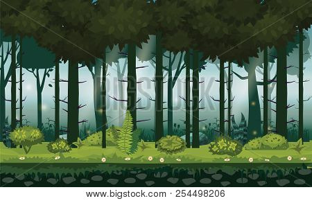 Cartoon Illustration Of Background Forest. Bright Forest Woods, Silhouttes, Trees With Bushes, Ferns
