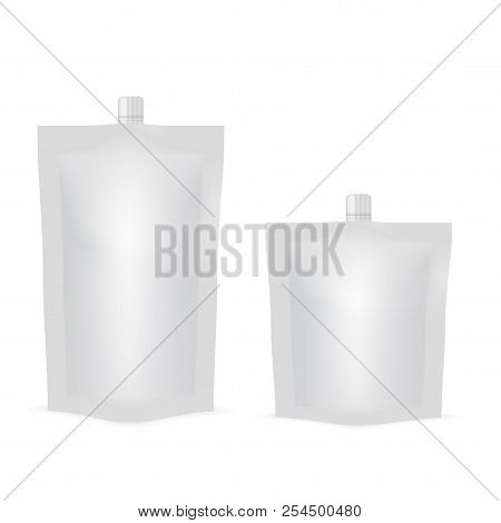 Blank Of Doy Pack For Food Or Drink. Mock Up. Vector