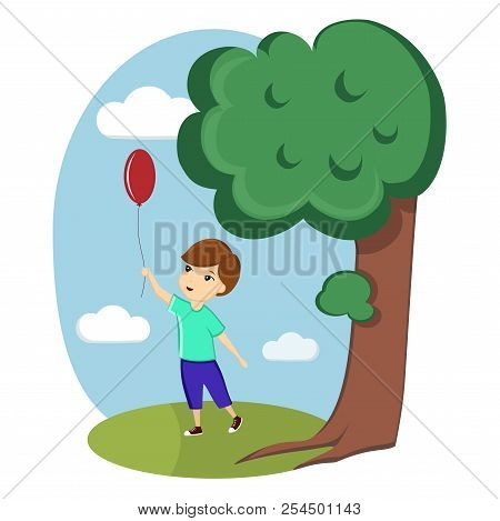 A Boy Is Playing With A Balloon On The Street. Image, Vector, Illustration, Template