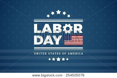 Labor Day Logo Background Usa - Dark Blue Background, Stars, Stripes Texture, The United States Flag