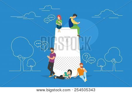 Smart Speaker With Virtual Assistant Concept Vector Illustration Of People Standing Near Speaker Sym