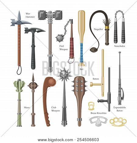 Medieval Weapons Vector Ancient Protection Warrior And Antique Metal Hammer Illustration Weaponry Se