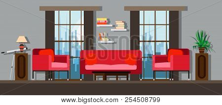 Interior Living Room Home Furniture Design. Modern House Apartment Sofa Vector. Flat Bright Window,