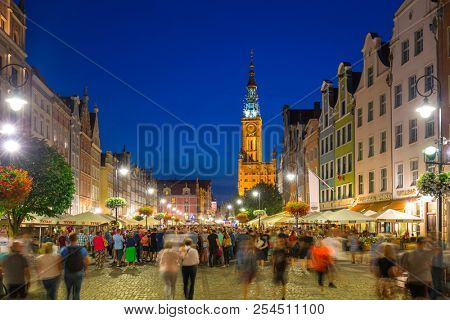 Gdansk, Poland - August 17, 2018: Architecture of the Long Lane in Gdansk at night. Gdansk is the historical capital of Polish Pomerania with medieval old town architecture.