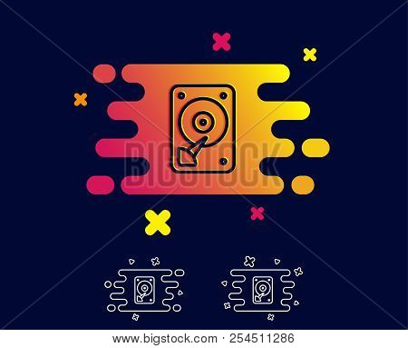 Hdd Icon. Hard Disk Storage Sign. Hard Drive Memory Symbol. Gradient Banner With Line Icon. Abstract